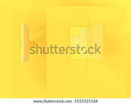 Laptop on table and chair yellow pastel color top view with copy space for your text. Minimal concept 3d render.