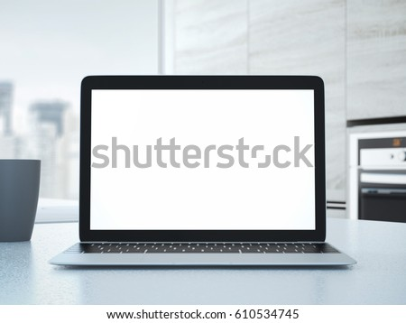 Laptop on the kitchen table. 3d rendering