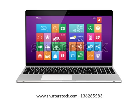 Laptop on white background. Front