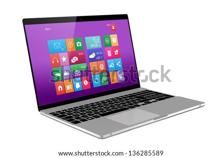 Laptop on white background. Perspective