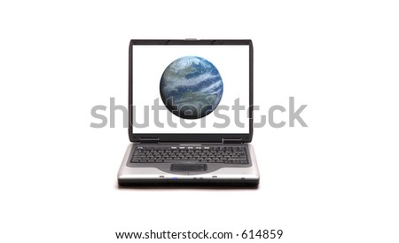 Laptop on white background whith Earth on the screen