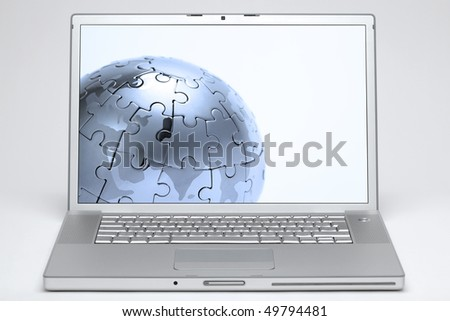 laptop on white background with a globe on screen