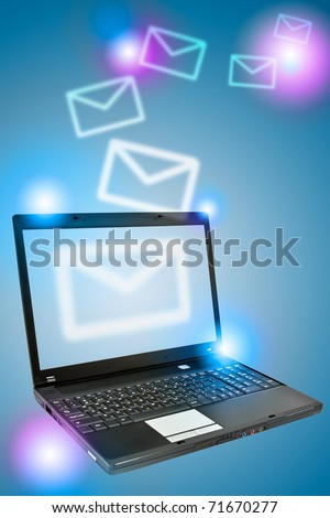 Laptop over blue background. Communication concept.