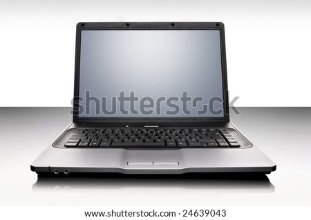 laptop over white background