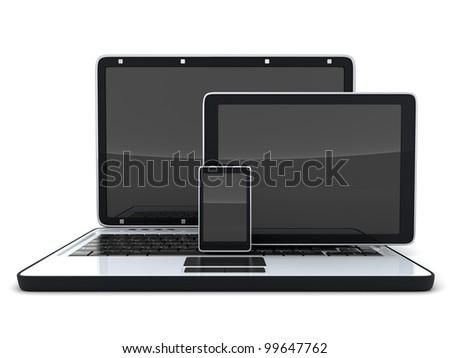 Laptop, pad and phone (done in 3d) - stock photo