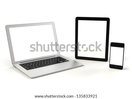 Laptop PC, tablet PC and smart phone( with copy space)