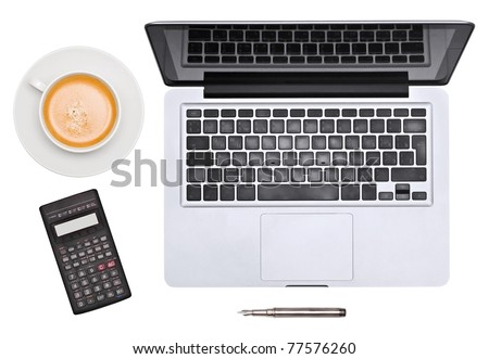 Laptop. pen, cup and unusual calculator