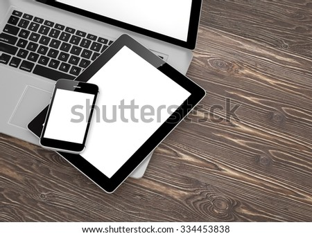 Laptop, phone and tablet pc. - Shutterstock ID 334453838