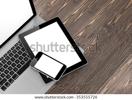 Laptop, phone and tablet pc. - Shutterstock ID 353555726