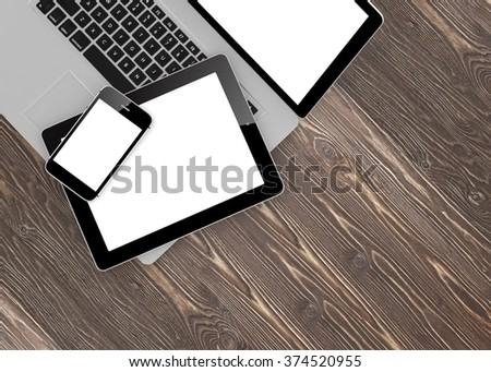 Laptop, phone and tablet pc. - Shutterstock ID 374520955
