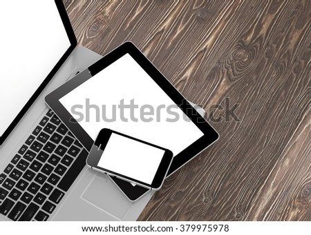 Laptop, phone and tablet pc. - Shutterstock ID 379975978