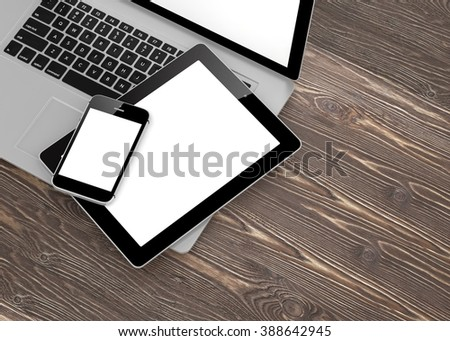 Laptop, phone and tablet pc. - Shutterstock ID 388642945