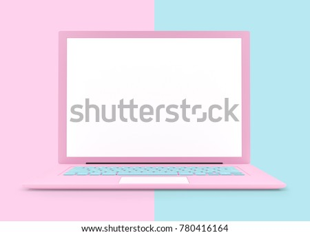 Laptop pink color with blank screen isolated and clipping path on pink and blue background. concept pastel color, 3d render.