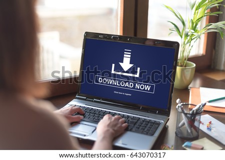 Laptop screen displaying a download concept #643070317