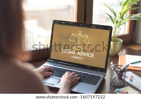 Laptop screen displaying a legal advice concept