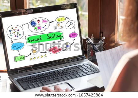 Laptop screen showing social selling concept