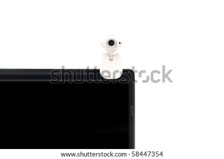 laptop screen with mounted webcam isolated