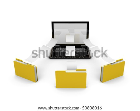 laptop sharing information with three files