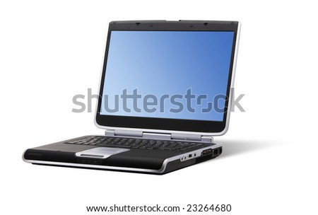Laptop showing a blue wallpaper isolated on a white background
