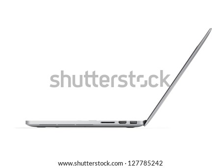 Laptop. Side view. Isolated on white background