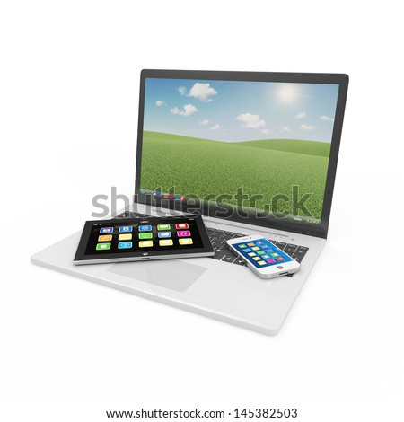Laptop, Smart Phone and Tablet PC isolated on white background