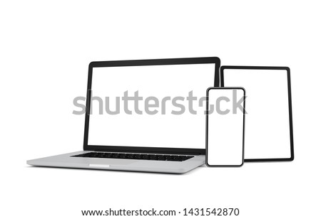 Laptop, smart phone and tablet with blank screen isolated on white background, 3d illustration, clipping path.
