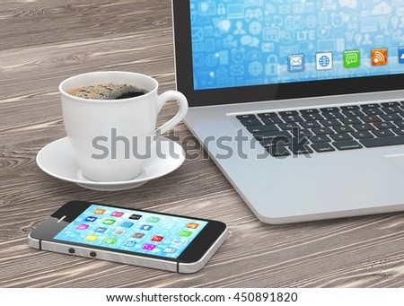 Laptop smartphone and coffee cup on wood. 3d rendering. #450891820