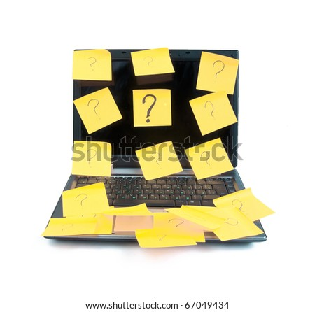 Laptop stuck on the question marks on a white background - stock photo