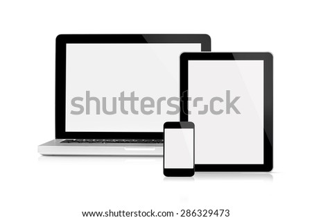Laptop, tablet and mobile phone - This is a front view of Macbook Pro, iPhone and iPad Apple Inc with blank screen, isolated on white.