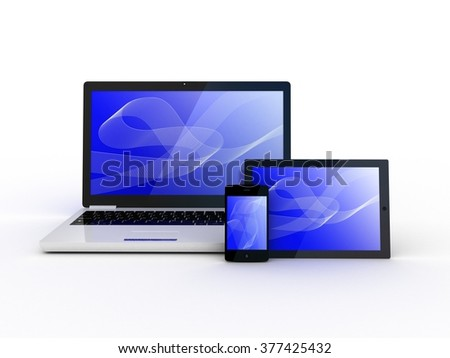 Laptop, tablet and smartphone on white background