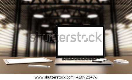 Laptop, tablet, smartphone, mouse,and pencil on the factory hall warehouse with blank screen on table, notebook a rectangular screen for inserting images, high detailed,realistic. 3D rendering.  #410921476