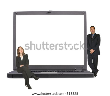 laptop view from the front with space for writing or placing your own image with business people on laptop