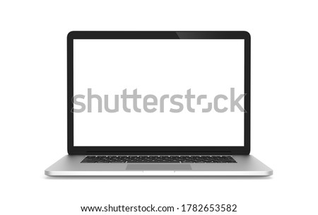 Laptop white gray mockup isolated on white background with clipping path. Front view object. Working at home and online education concept. Foto stock ©
