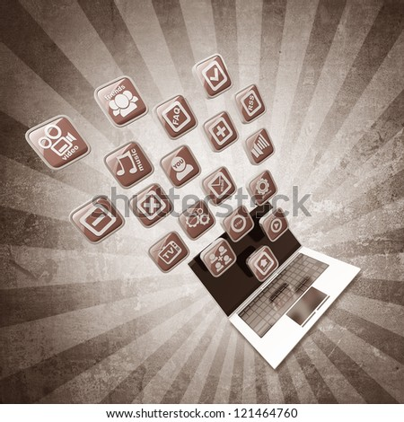 laptop with application icons on grunge background High resolution 3d render