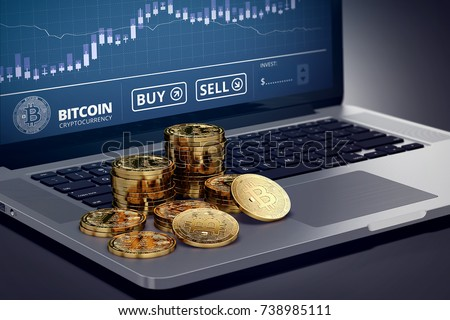 Laptop with Bitcoin chart on-screen among piles of Bitcoin. Bitcoin trading concept. 3D rendering