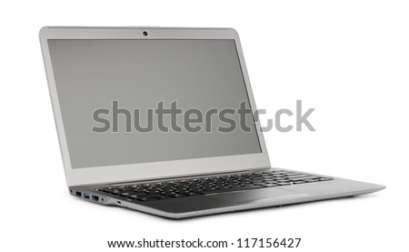 laptop with blank monitor