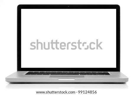Laptop with blank screen isolated on white #99124856