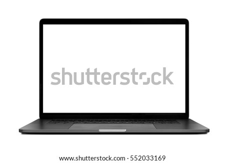 Laptop with blank screen isolated on white background mockup, white aluminium body.