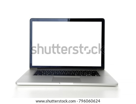 Laptop with blank screen on table isolated on white background #796060624