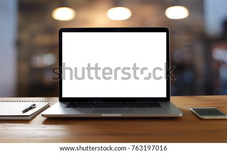 Laptop with blank screen on table. Workspace background new project on laptop computer with blank copy space screen for your advertising text message #763197016