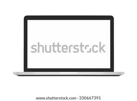 Laptop with blank screen on white