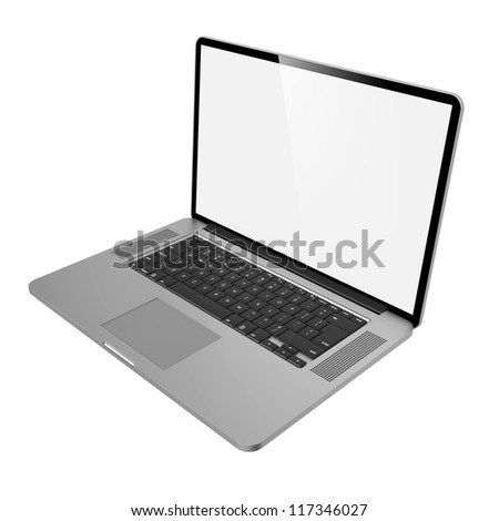 Laptop with Blank Screen. Side View on White Background.