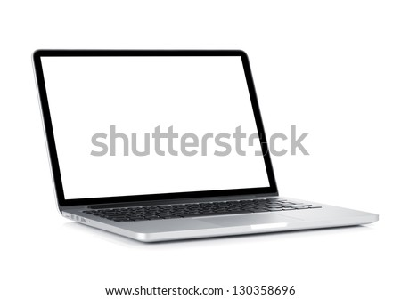 Laptop with blank white screen. Isolated on white background #130358696