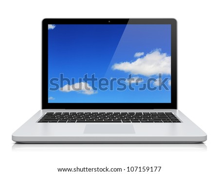 Laptop with blue sky background on the screen. Isolated on a white. 3d image