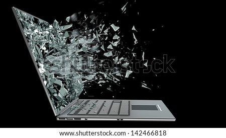 laptop with broken screen isolated on black background