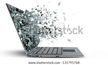 laptop with broken screen isolated on white background