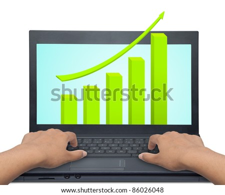 laptop with business or profits growth graph