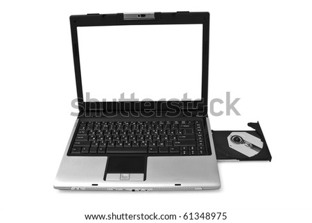 laptop with cd case open on white