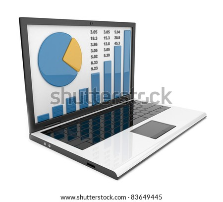 Laptop with chart. Business success. Isolated on white background