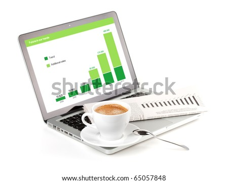 Laptop with chart, cappuchino cup and newspaper. Isolated on white